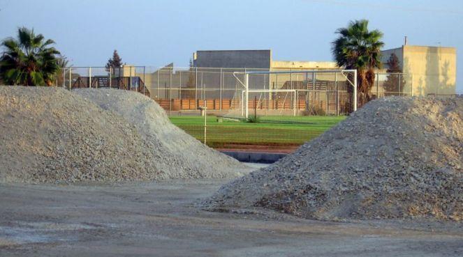 Construction reaching soccer field