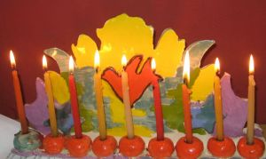 Chanukah, 8th night, Chanukiah made by Zohar