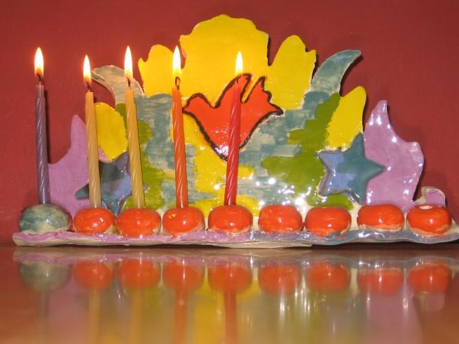 4th Day Chanukah, chanukiah made by zo