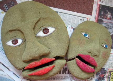 2 puppets mid-process