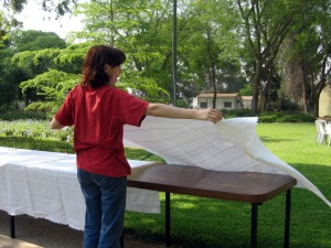 Margit whooshing the tablecloths